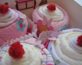 Baby Girl Onsie, Bib, Socks and Washcloth Adorable 9 Piece Cupcake Set