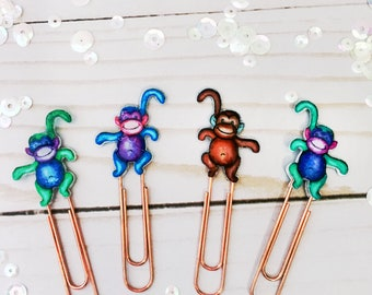 Planner Paper Clips Set of 4 - Monkey Planner Paper Clips