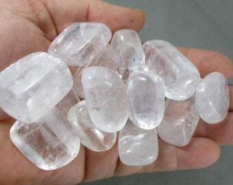 2 Optical Calcite Stones Tumbled - White Calcite, Energy Cleansing, Healing Crystals and Stones, Icelandic Spar Calcite, Calming Energy T036