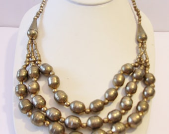 Multi Strand Metal Bead Necklace Triple Row Vintage Jewelry Fashion Accessories For Her