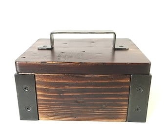 Catchall tray keepsake box treasure chest decor accent gift industrial rustic