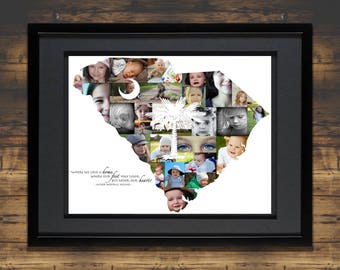 South Carolina Collage   Map of SC   SC Map   South Carolina Map   South Carolina Gift   SC Print   South Carolina Home   Photo Collage