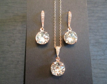 Rose Gold Clear Swarovski Crystal Bridesmaid Jewelry Set/ Rose Gold Crystal Earrings/ Swarovski Earrings/Wedding Jewelry/Bridesmaid Earrings