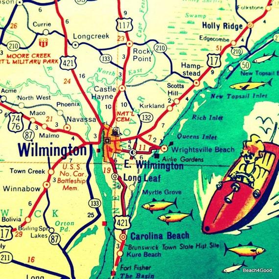 WILMINGTON map Wilmington North Carolina map wall art NC wall