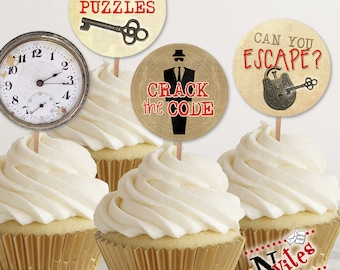 Escape Room Cupcake Toppers, Escape Room Tags, Escape Room Party, Escape Room Party Decor, Spy Party Cupcake, Spy Favor Tags | PRINTABLE