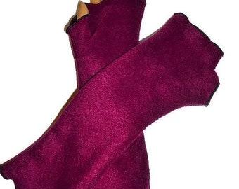ON SALE Arm Warmers Fingerless Gloves, Burgundy Fleece Wrist Hand Warmers Gift For Her Handmade, Harry Potter, Halloween, Christmas, Gifts W