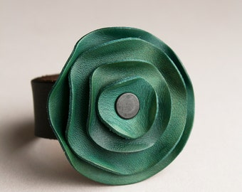 leather cuff, leather scarf cuff, Sea Green leather, jade green, green aqua