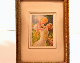 Antique Print Mother and Baby Framed Picture