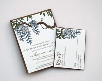 The Claire Collection - Vintage Inspired Wisteria Garden Party Wedding Invitation Set in Purple, Green, Brown and Cream - SAMPLE