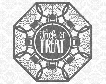 Trick Or Treat Halloween Mandala Spiders Spider web Glass Block SVG DXF Ai Eps Png Vector Instant Download Commercial Use Cricut Silhouette