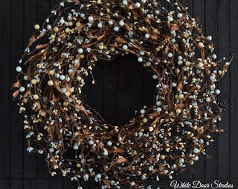 Rustic Blue, Black and Cream Pip Berry Front Door Wreath