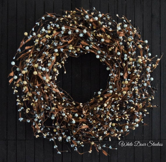 Rustic Blue Black and Cream Pip Berry Front Door Wreath