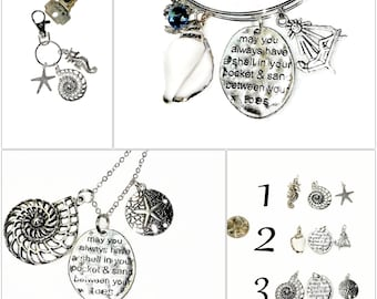 Custom SILVER BEACH LOVER Seashells Charms Coastal Keychain Bracelet Necklace Seahorse Starfish Jewelry Car Mirror Hanging Charm Key Ring