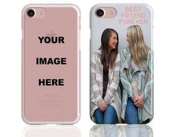 Custom Personalised Silicone Clear Case with your own Photo, Text, Image. For iPhone 6 - 6S - 6 Plus - 7 - 8 - X. High Quality UV Print.