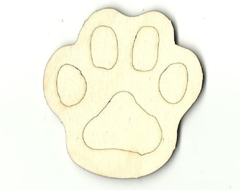 Paw Print - Unfinished Laser Wood Cut Out Shape Craft Supply ANML51