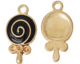 Set of 2 charms lollipop candy - black and gold T15