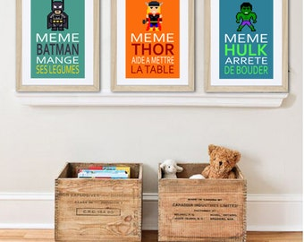 3 french posters with batman, Thor, Hulk, humour, children wall art, bathroom