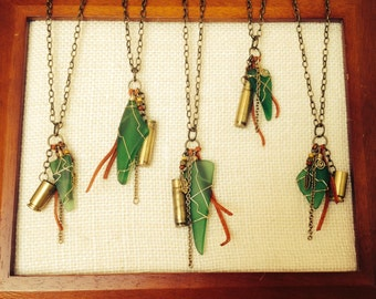 HandCrafted Recycled Glass Necklaces - Green