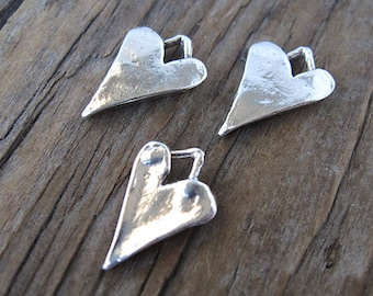 1 Sterling Silver LONG Heart Charm 15mm -1pc
