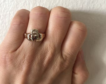 Claddagh ring, vintage, solid 14k