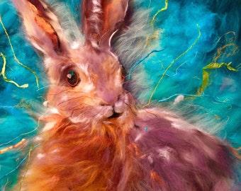Hare Picture - HARE I AM Felt Art Box Canvas (giclee print of original felt art by Debra Esterhuizen)