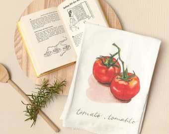 Tomato - Food Pun Flour Sack Towel - Hand Lettered - Watercolor - Kitchen Towel - Gift - Cotton Tea Towel - Fruits & Veggies - Produce