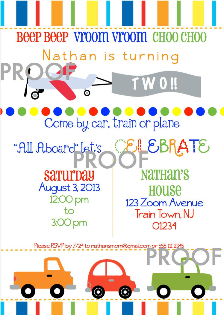 Transportation Birthday Party Invite Planes Trains and