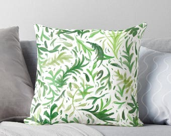 GREEN LEAVES Throw Pillow, Vivid Greenery Botanical Pillow Cushion, Refreshing Nature Bedroom Decor, Bright Floral Pattern