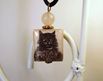 CAT LOVER Jewelry Scrabble Pendant with Cord / Beaded / Charm / Vintage Art