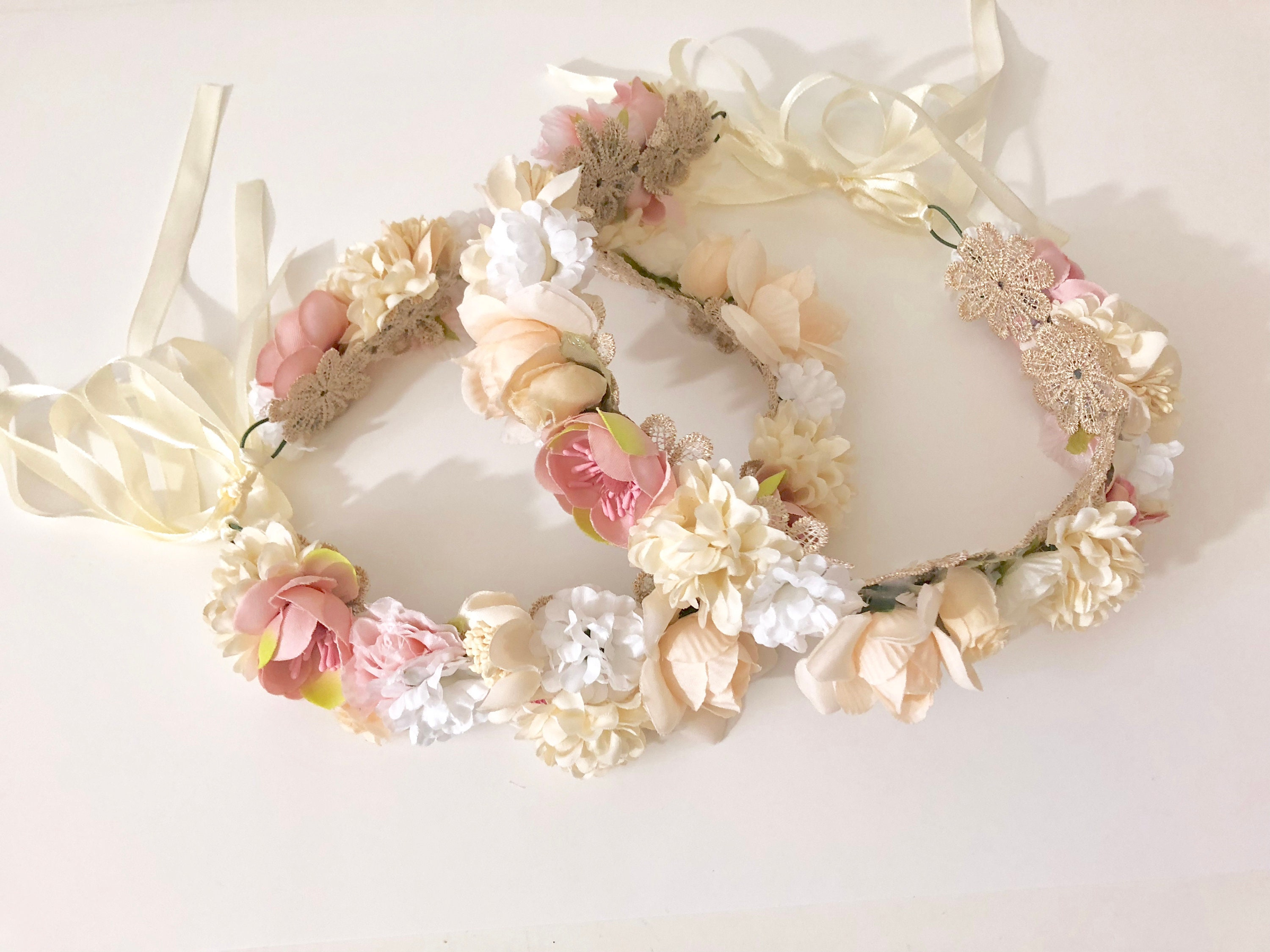Flower girl crown wreath ivory pink flower crown floral crown flower girl crown wreath ivory pink flower crown floral crown wedding flower crown wreath floral wedding crown flower girl hair crown izmirmasajfo Image collections