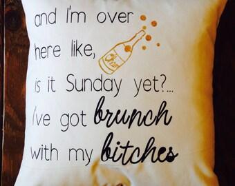 Brunch Pillow, Brunch Decor, Brunch Quote, Friends Brunch, Girls Brunch, Mimosa Brunch,