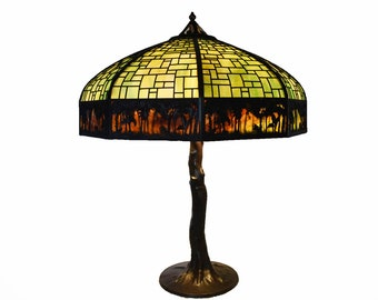 Handel Sunset Palm Border Overlay Lamp with Crooked Tree Base #8997