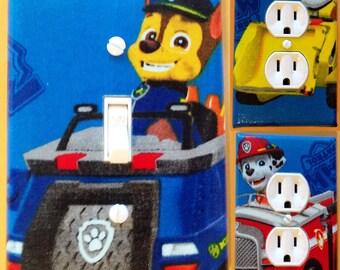 Paw Patrol light switch wall plate covers nursery, kid room bathroom ,bedroom decor with trucks