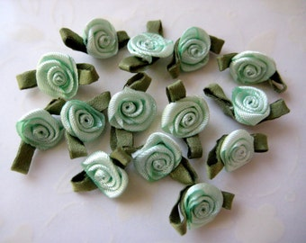 Mint Green Satin Ribbon Rose Flower with Green leaves Appliqués for Crafting, Sewing, Doll Clothes - 3/4 inch / 20 mm, 30 pieces