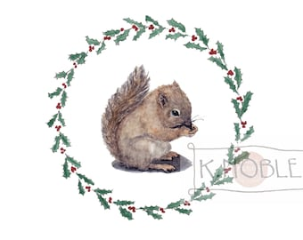 Baby Squirrel Watercolor Print with Holly Border - Great for Holiday Decor
