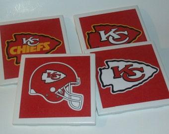 Football Coasters - Kansas City Chiefs Coasters- Football Beer Coaster - Wine Coaster