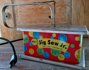 Jig Saw Jr Vintage Toy - Mid Century Working Toy Saw - Bright Colors