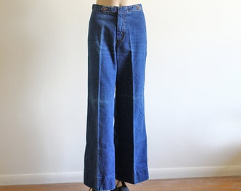 Vintage Bell Bottoms / High Waisted Denim / La Machine / 70's Vintage Denim / Boho Hippie / 26/27