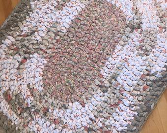 rag rug, oval rug, crochet rug, beige and cream rug, nursery rug, rustic rug, farmhouse rug, country rug, rustic rug, cotton rug, recyled,