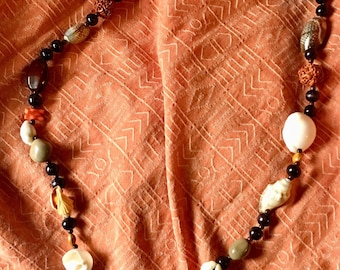Boho Long Wood Shell and Seed Slip On Necklace