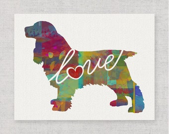 Cocker Spaniel Love - Colorful Watercolor Print for Dog Lovers - Dog Breed Gift - Can Personalize With Name - Pet Memorial - Pet Loss Gift