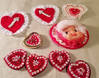 Vintage handmade Valentine ornaments and magnet hearts