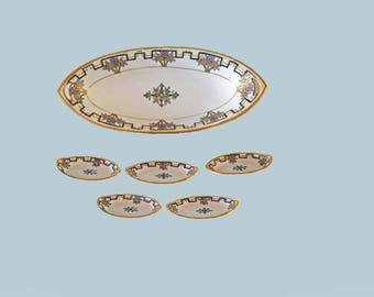 SALE! Nippon Celery Dish and 5 Individual Salts Floral Geometric Art Deco Design Porcelain Tray Gold Moriage Collector Item Made In Japan