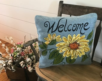 Welcome, Pillow with Sunflowers, Gifts for Gardeners, Mother's Day Gifts, Spring and Summer Flowers, Blue Pillow, Hand-painted, Pillow Cover