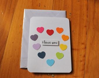 Rainbow Hearts - I Love You Card