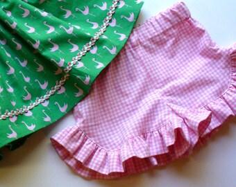 Girls Ruffle Shorts,Summer Shorts,Little Girl Shorts,Toddler Shorts,Pink,Gingham,Size 12MO,18MO,2T,3T,4T,5,6,7,8