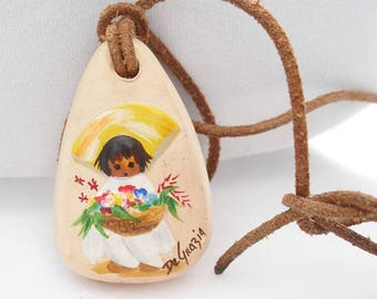Vintage DeGrazia Pottery Pendant Necklace Hand Painted Girl with Flowers