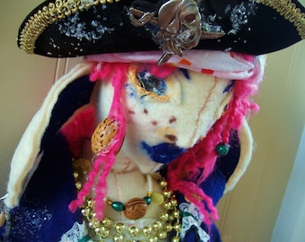 ON RESERVE for HeidiHo - Art Doll OOAK Pearl the Pirate Princess Sewn of Felt