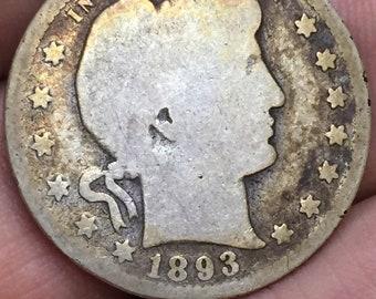 1893 Barber Quarter, Liberty Head Quarter M363