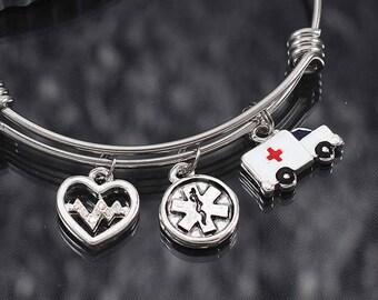 Emt jewelry etsy emt charm bracelet gift ems jewelry paramedic gift emt star of life charm bangle ambulance charm jewelry paramedic bracelet gift aloadofball Images